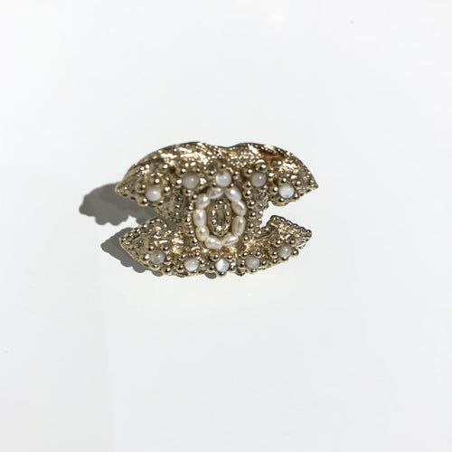 Chanel Gold  CC Pearl Ring