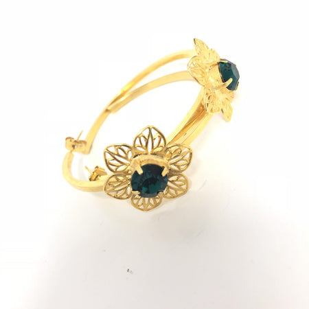 Ultima Edizione Green Floral Gold Toned Hoops