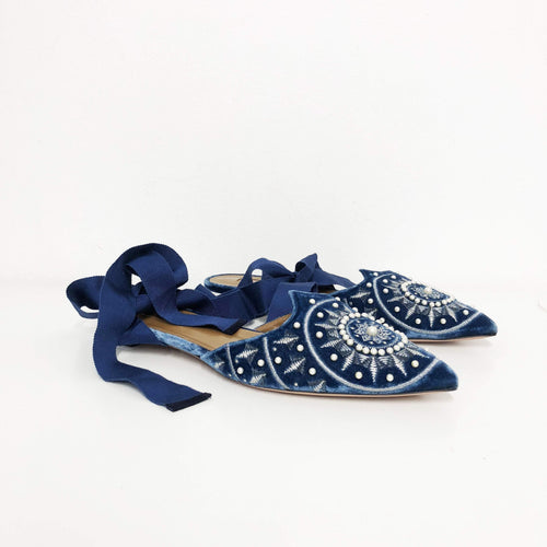 Aquazurra Blue Stellar Embroidered Velvet Mules