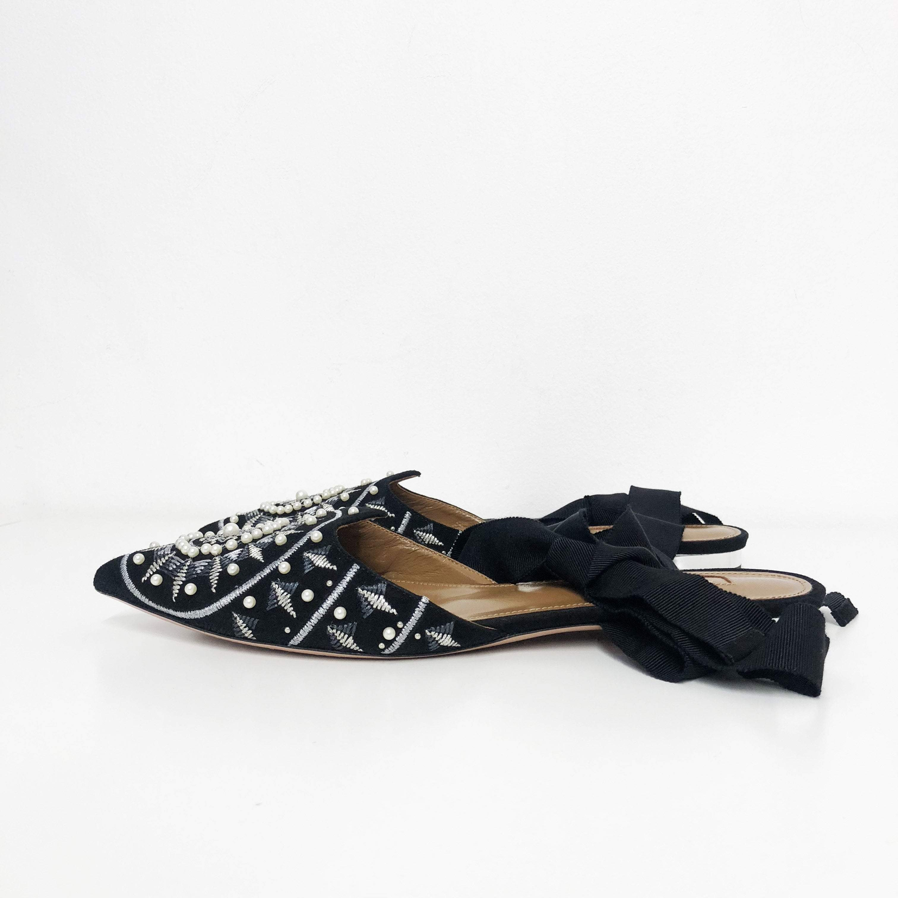 Aquazurra Black Stellar Embroidered Velvet Mules