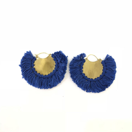 No Brand Blue Tassel Hoop Earrings