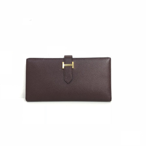 Hermes Burgundy Epsom Calf Leather Bearn Gusset Wallet
