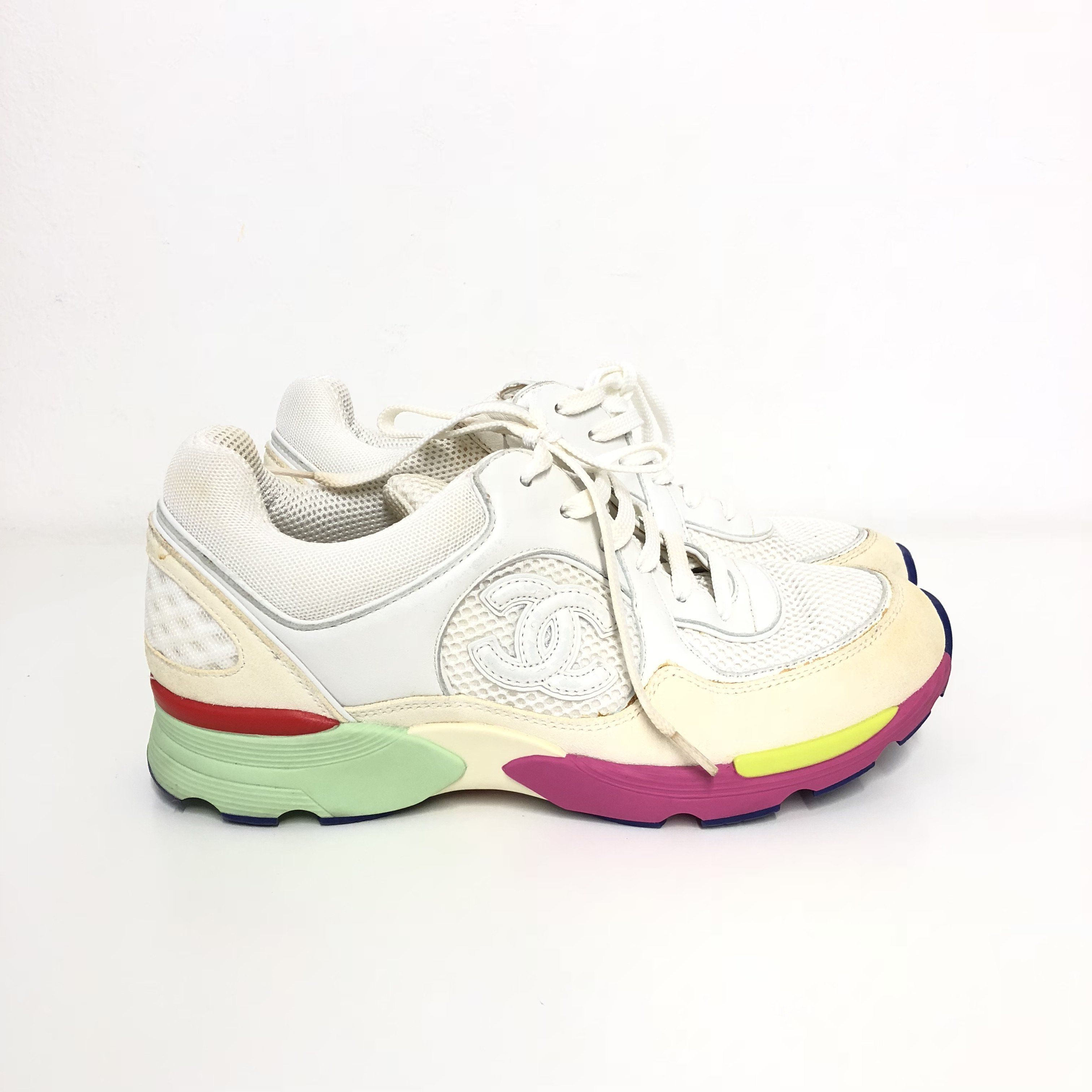 Chanel White Mesh And Leather CC Multicolor Sole Lace Up Sneakers