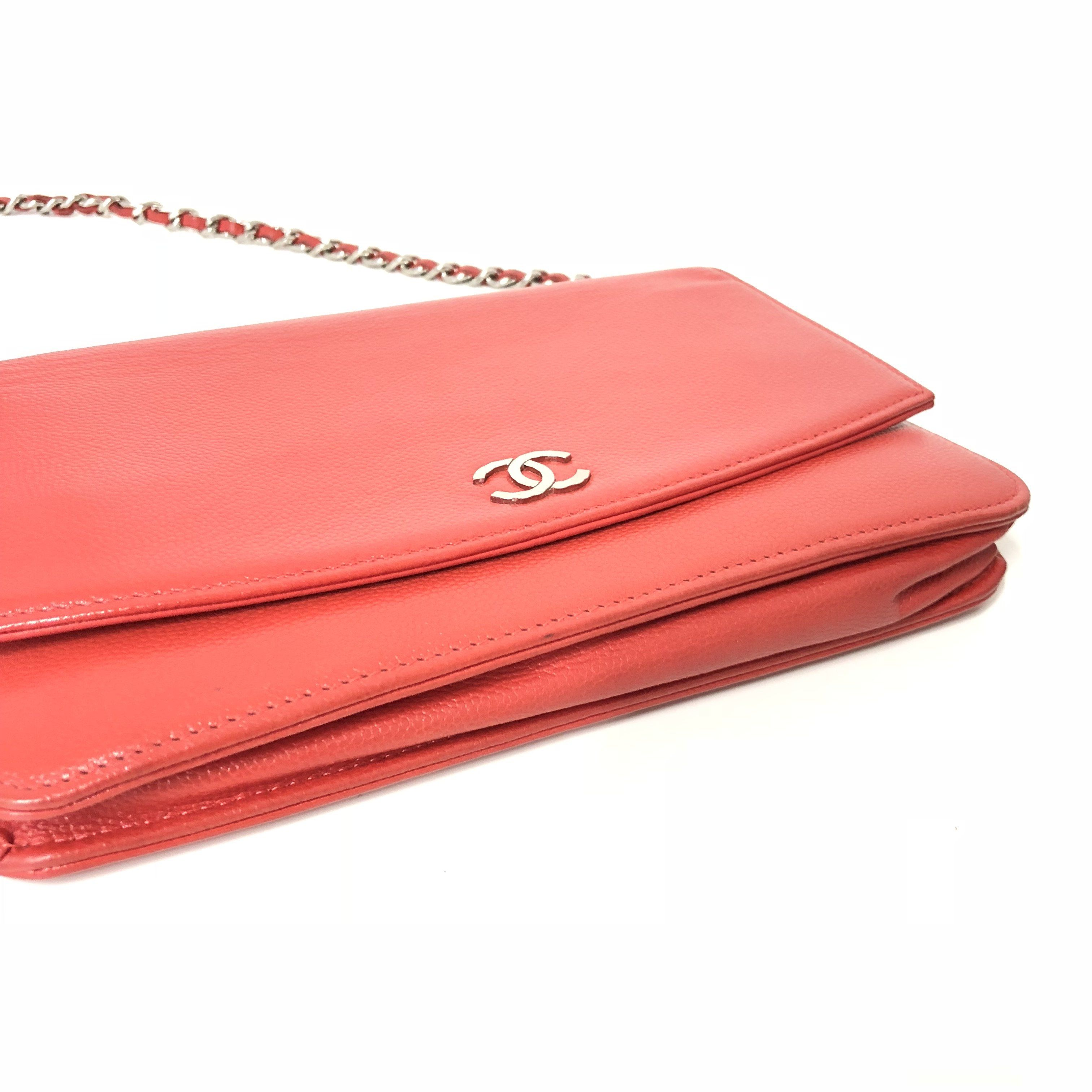 Chanel Caviar Wallet On Chain Red Crossbody Bag