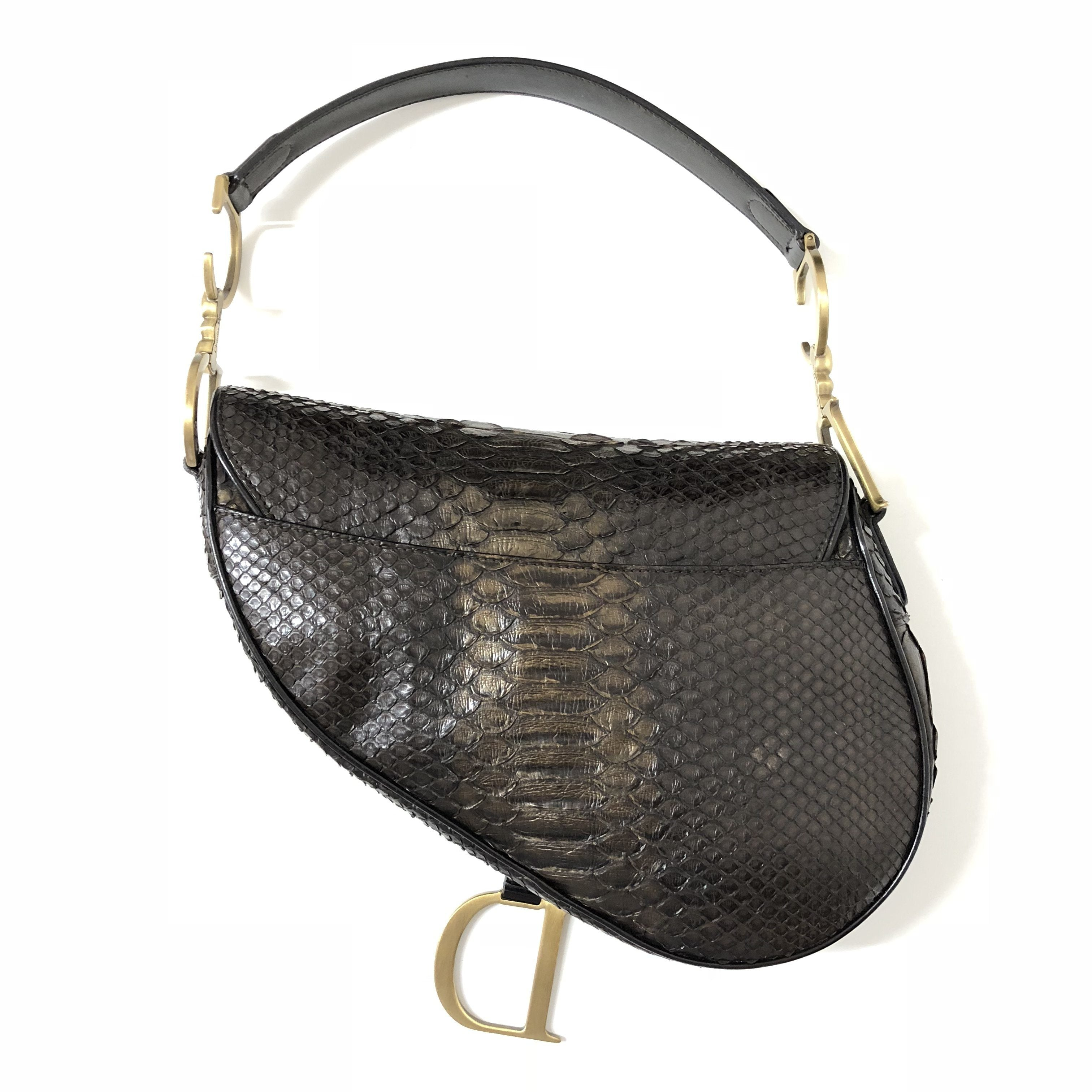 Christian Dior Python Saddle GHW Bag