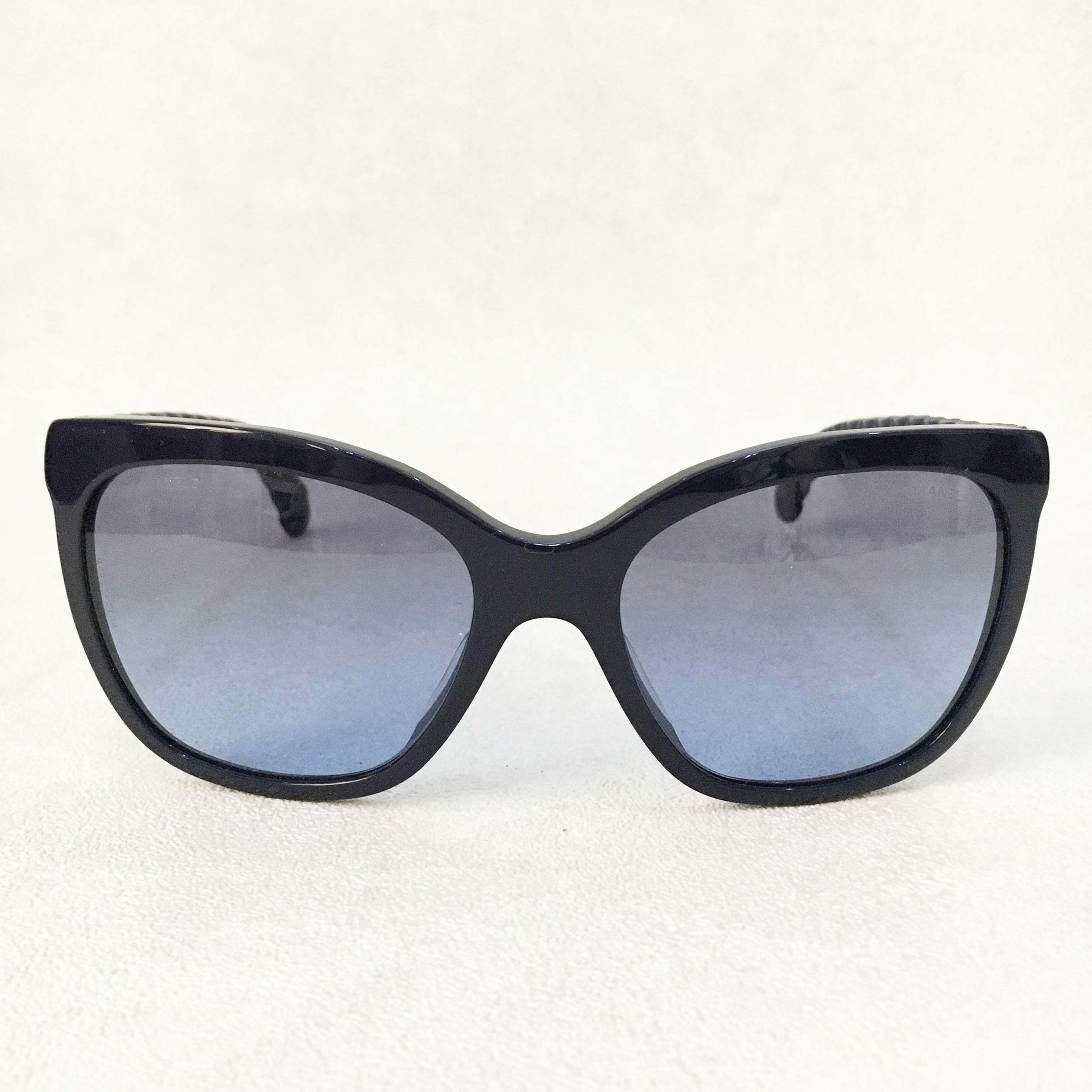 Chanel Dark Blue Sunglasses with Leather arms