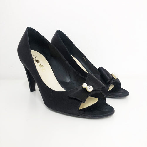 Chanel Black Satin Pearl Bow Peep Toe Shoes