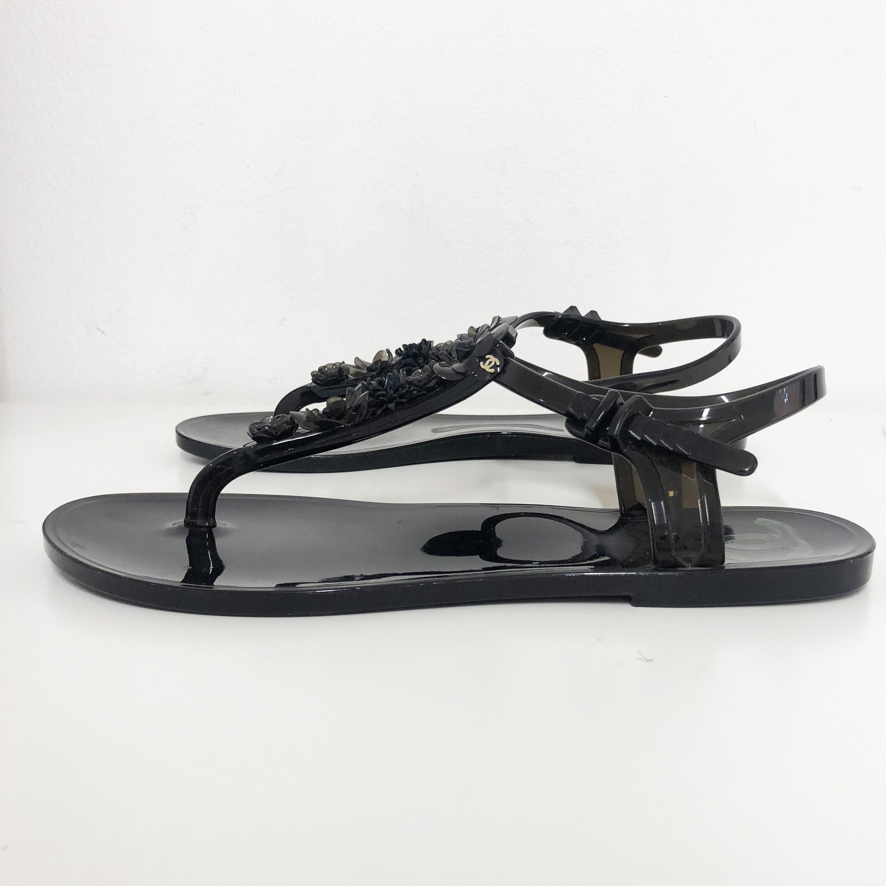 Chanel Black Jelly CC Camellia Thong Sandals