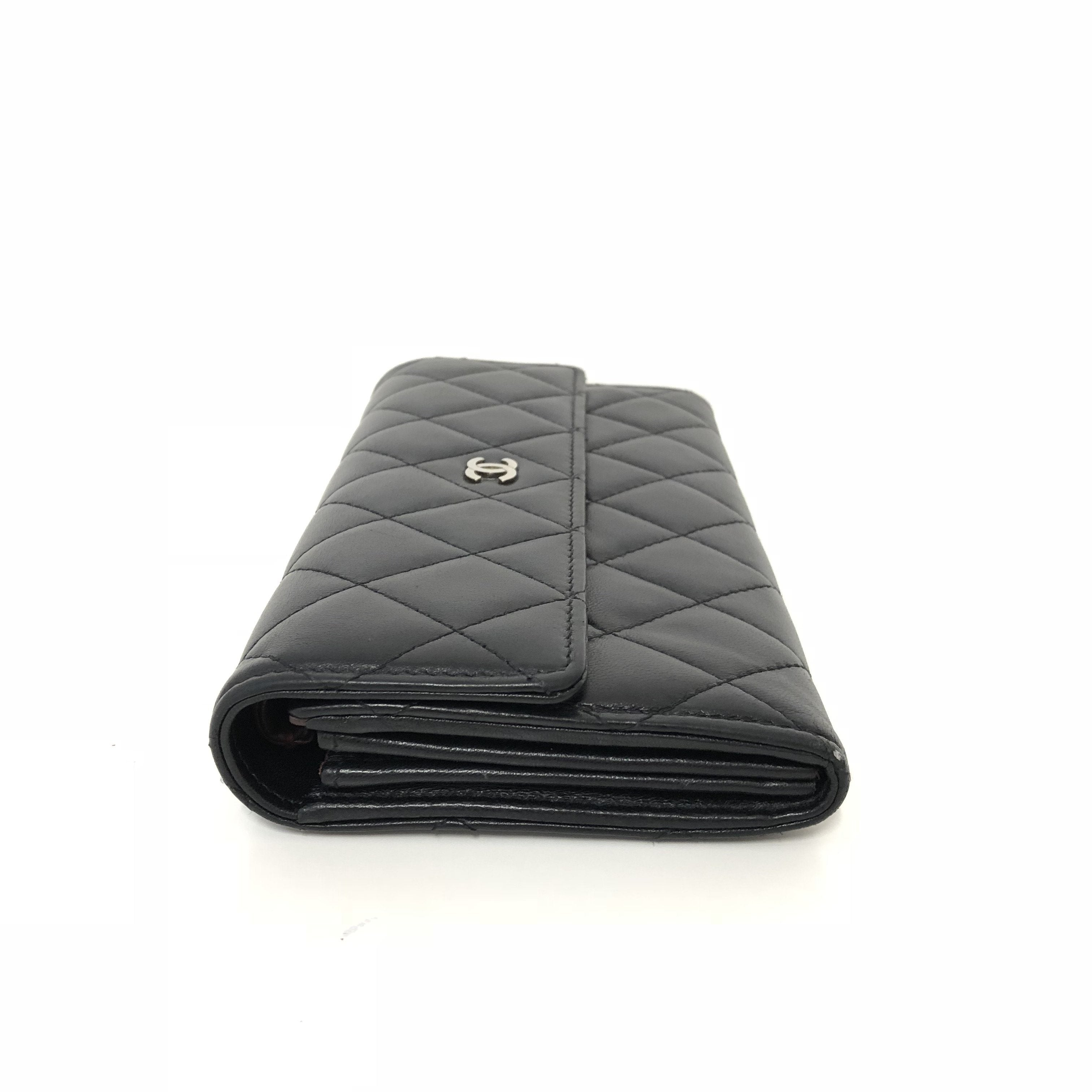 Chanel Black Lambskin Classic Quilted Flap Wallet