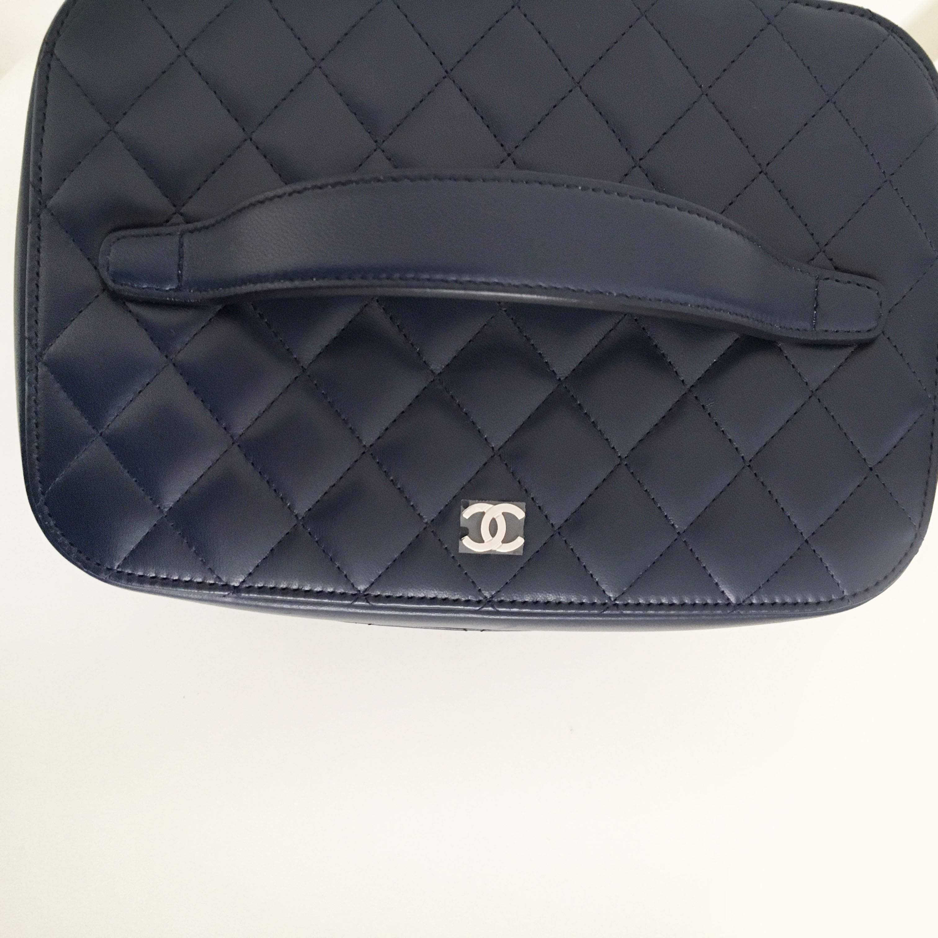 Chanel Blue Quilted Lambskin Leather Vanity Case Bag