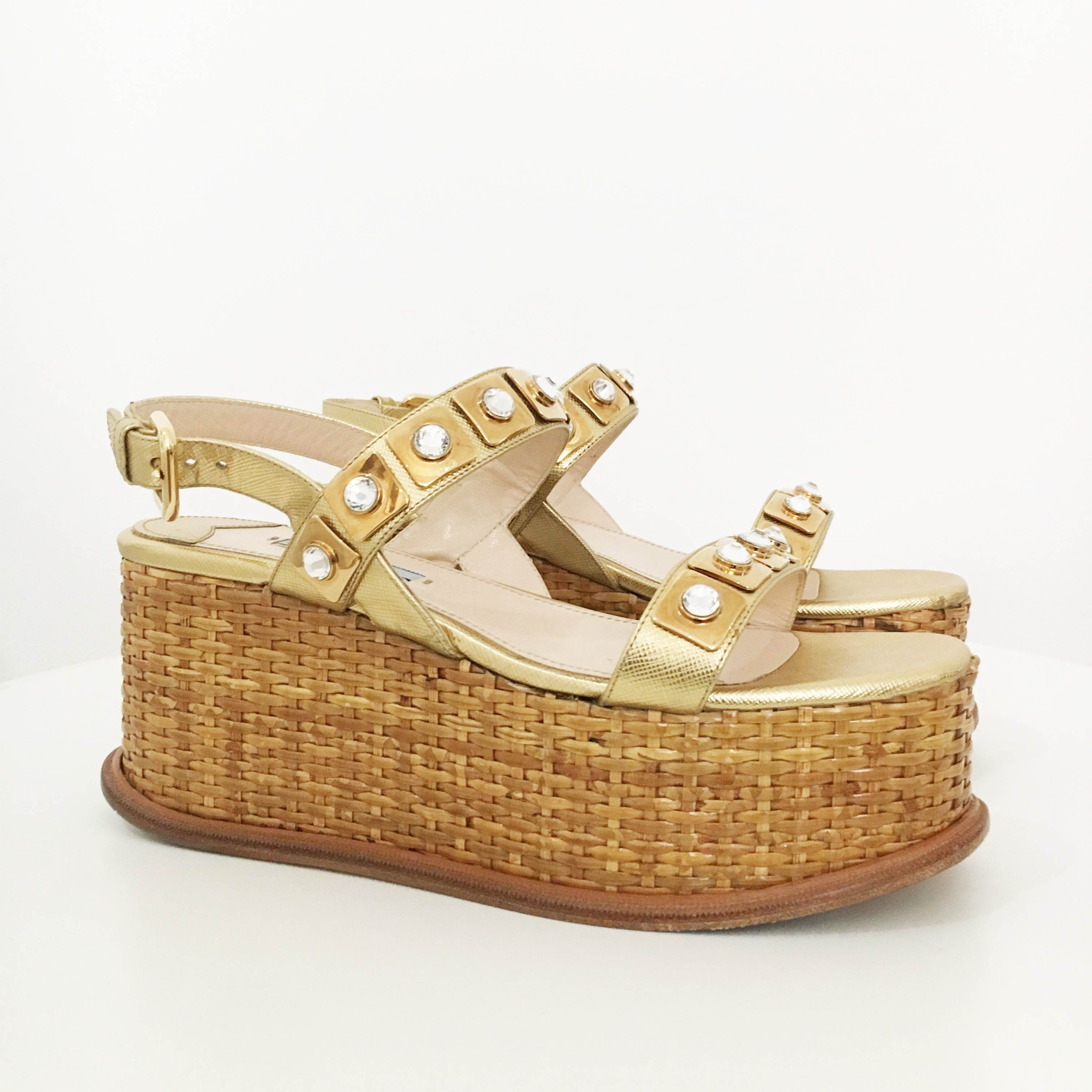 Prada Ankle Strap Crystal Embellished Woven Wedge