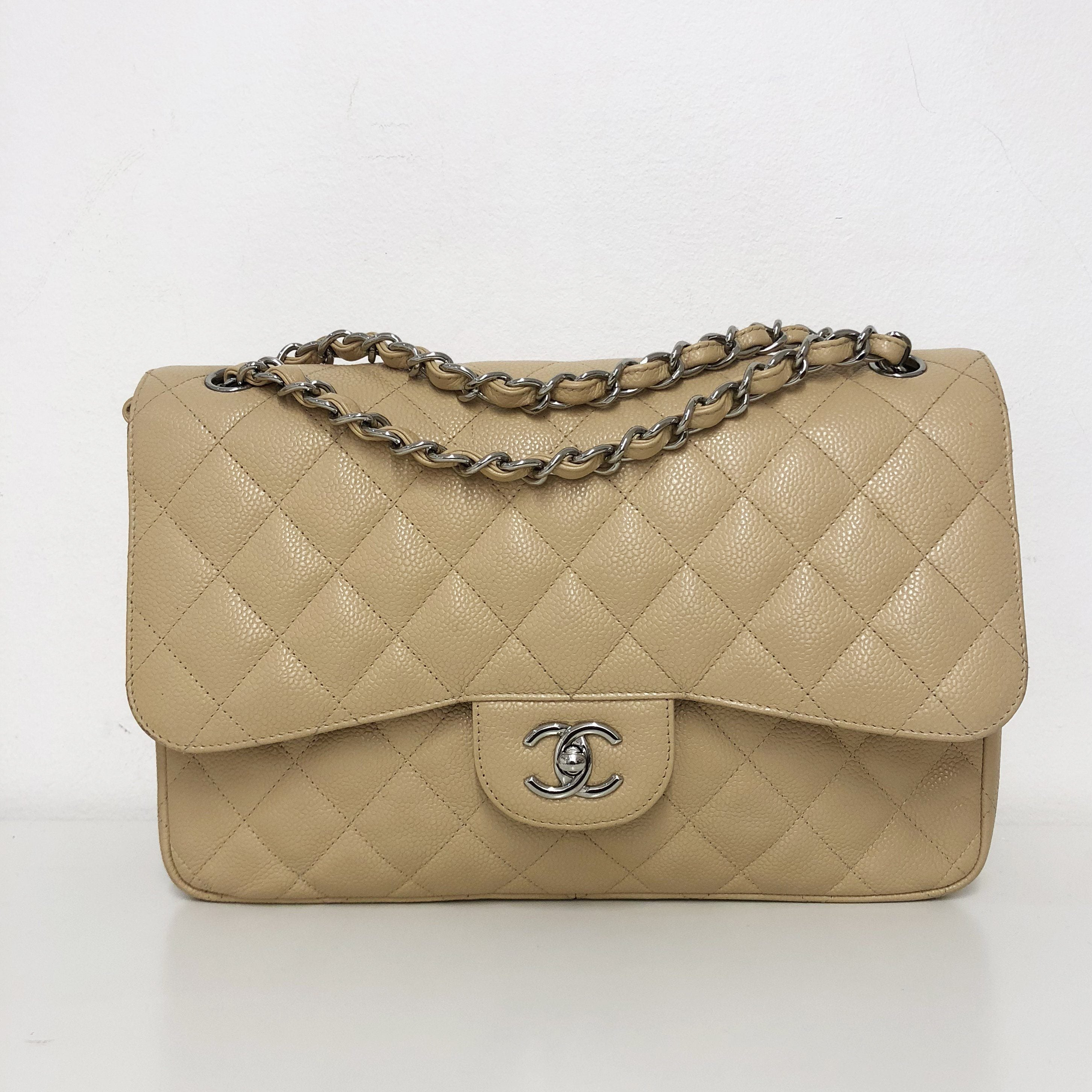 Chanel Beige Quilted Caviar Leather Jumbo Classic Double Flap Bag