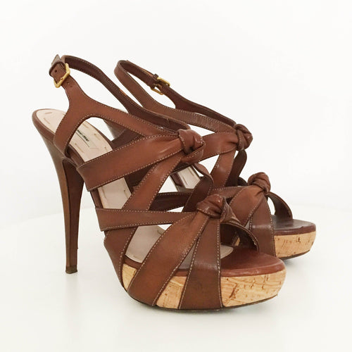 Miu Miu Leather Knot Sandal Heels