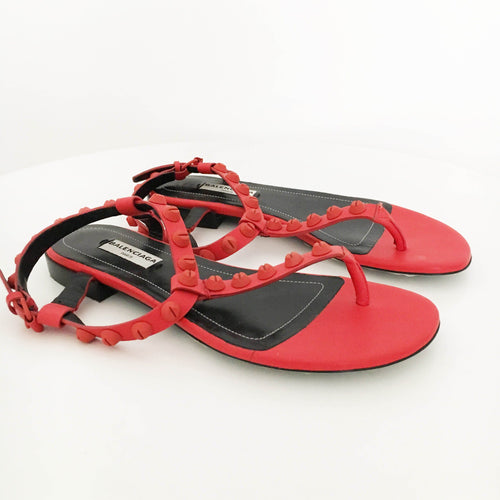 Balenciaga  Red Arena Studded Matte Flat Sandals