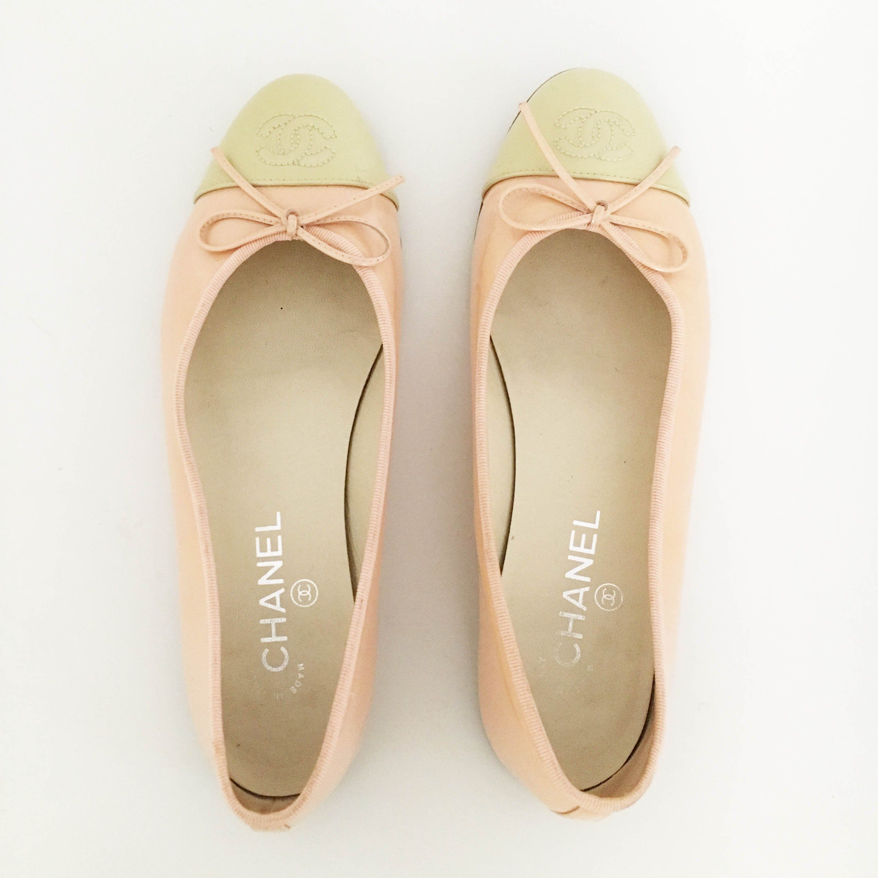 Chanel Ballerina in Peach and Beige Patent Leather