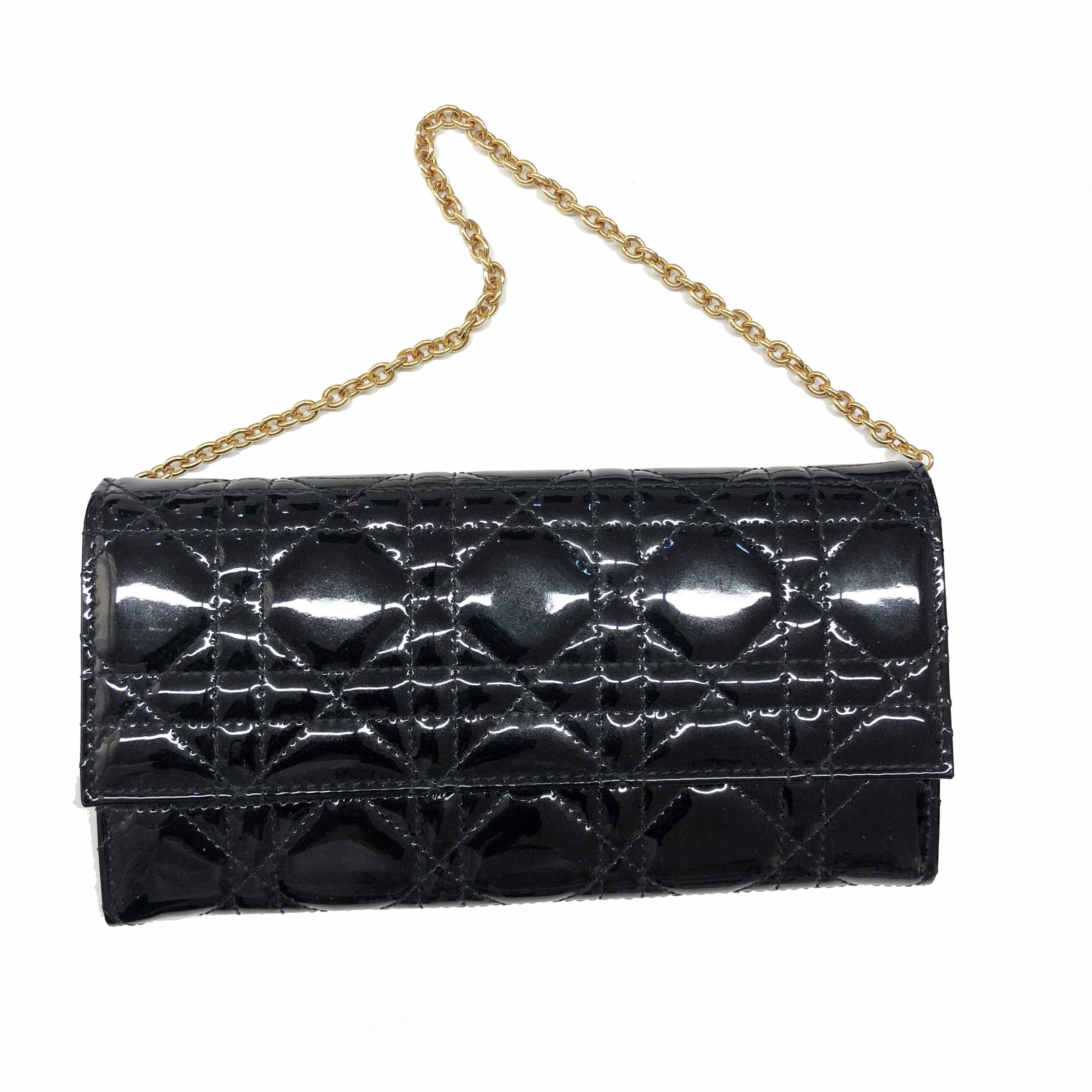 Christian Dior Black Patent Cannage Rendez-Vous GHW Chain Wallet