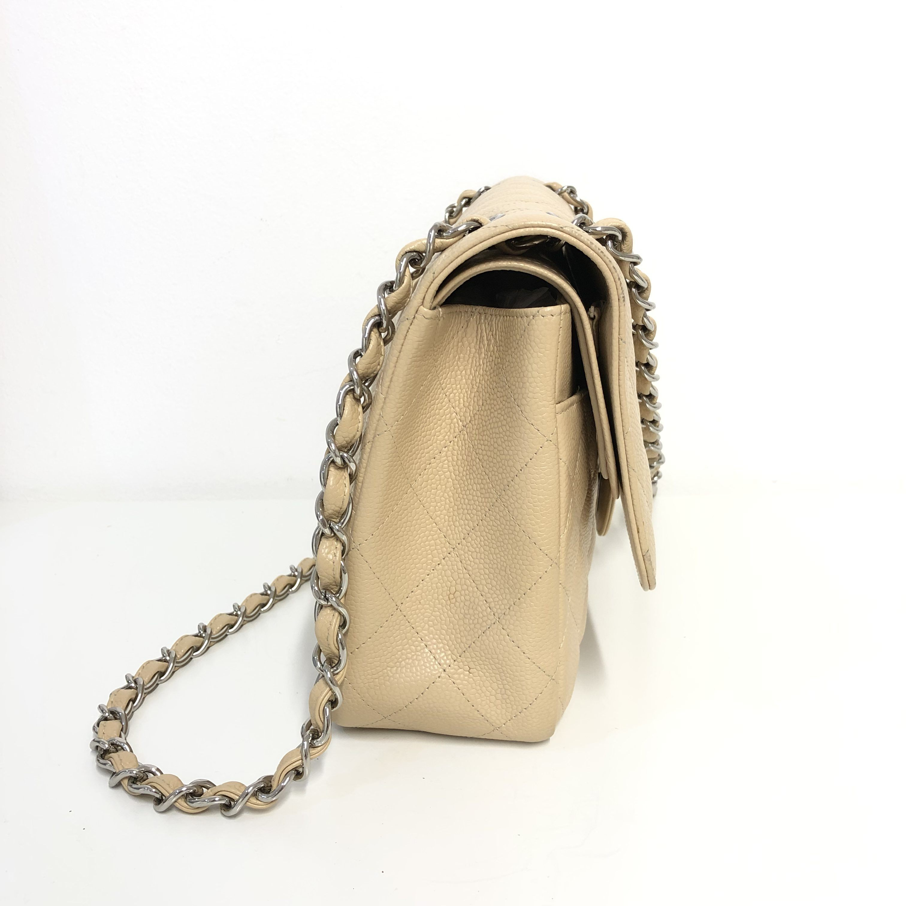 8b97d5cdaced Chanel Beige Quilted Caviar Leather Jumbo Classic Double Flap Bag ...