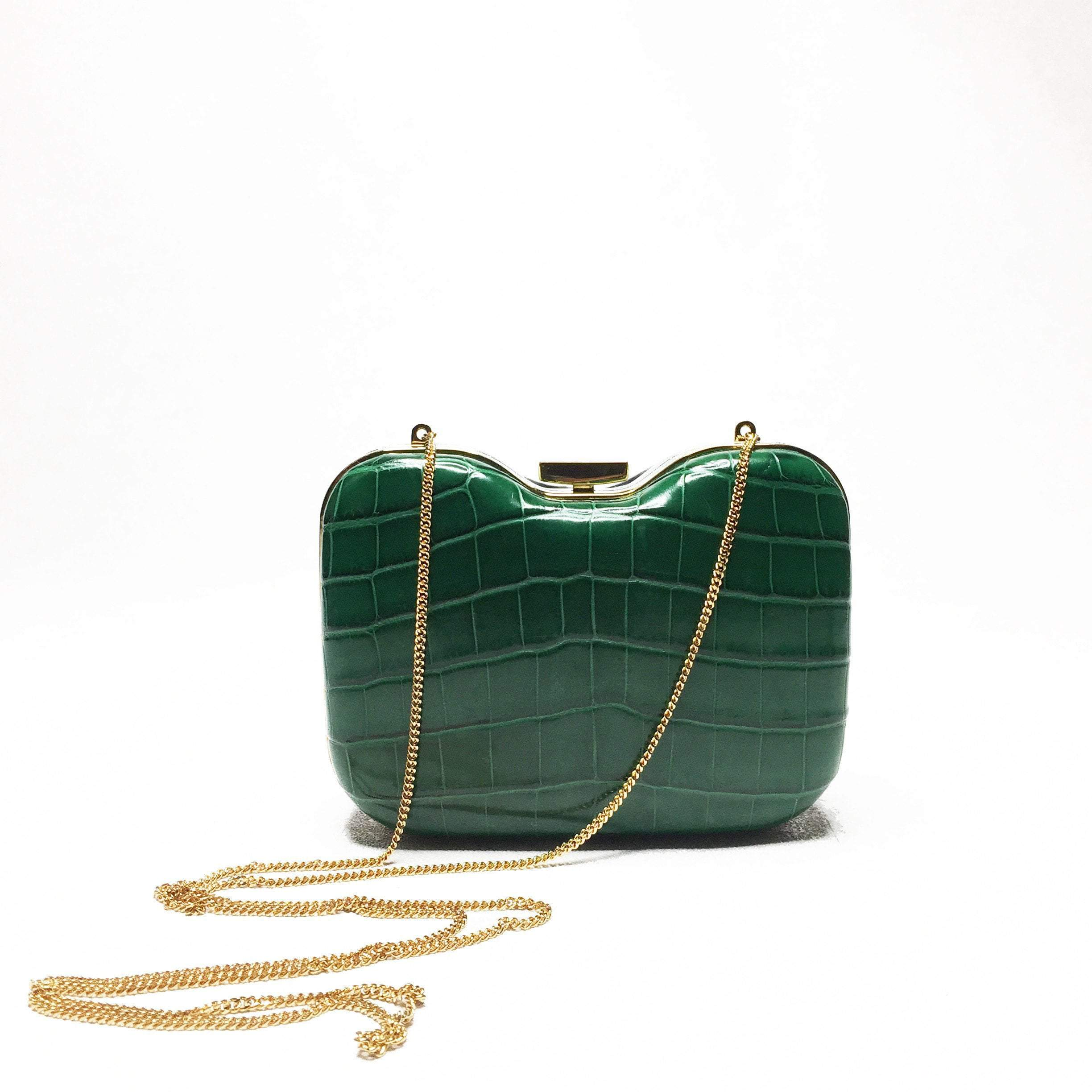 Fendi Green and Midnignt Blue Giano Clutch