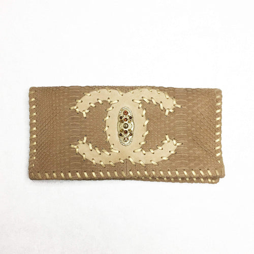 Chanel Brown Matte Python Foldable Clutch Purse