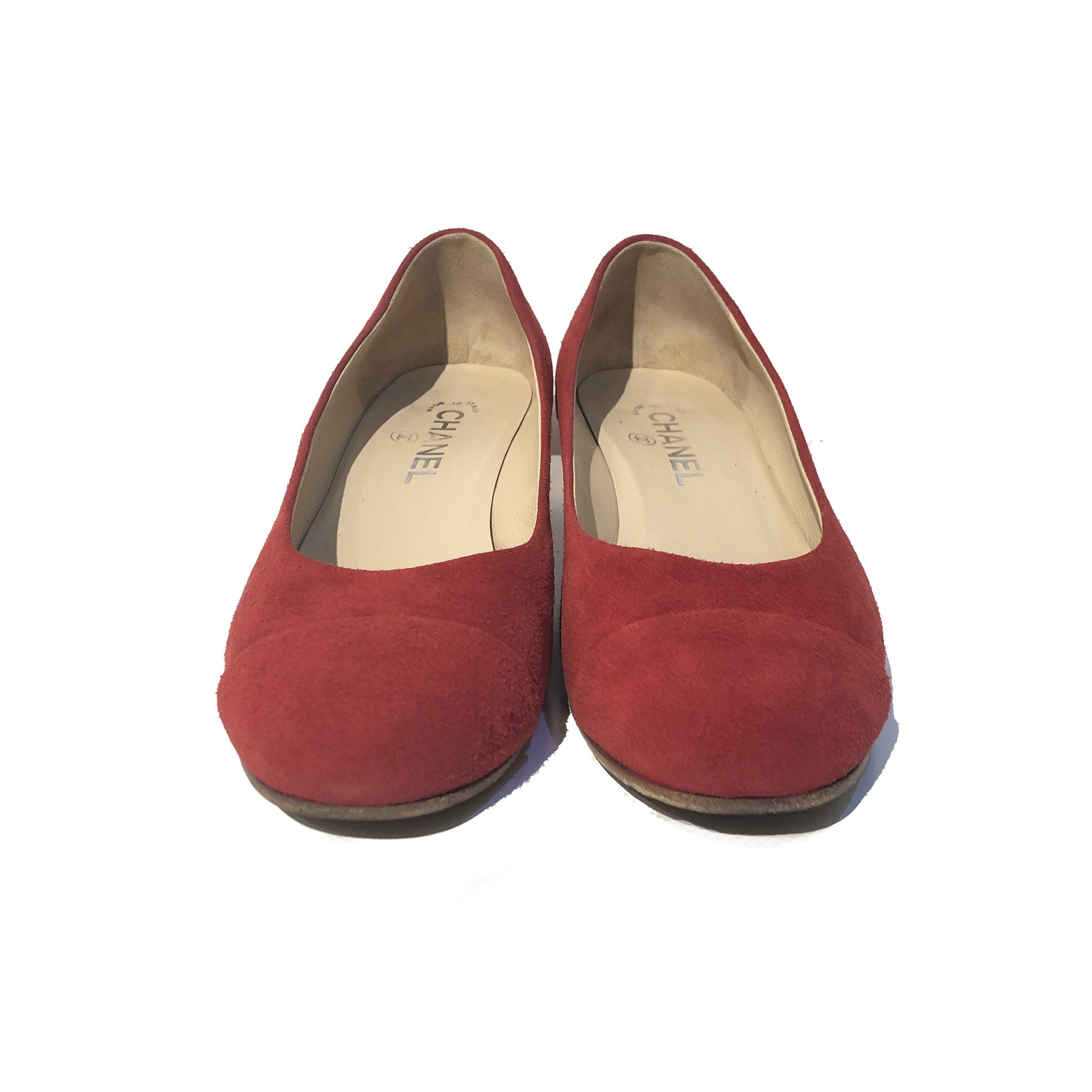 Chanel Red Suede Goat Skin Cap Toe Low Heels Pumps