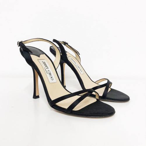 Jimmy Choo Black Criss-cross Slingback Satin Sandals