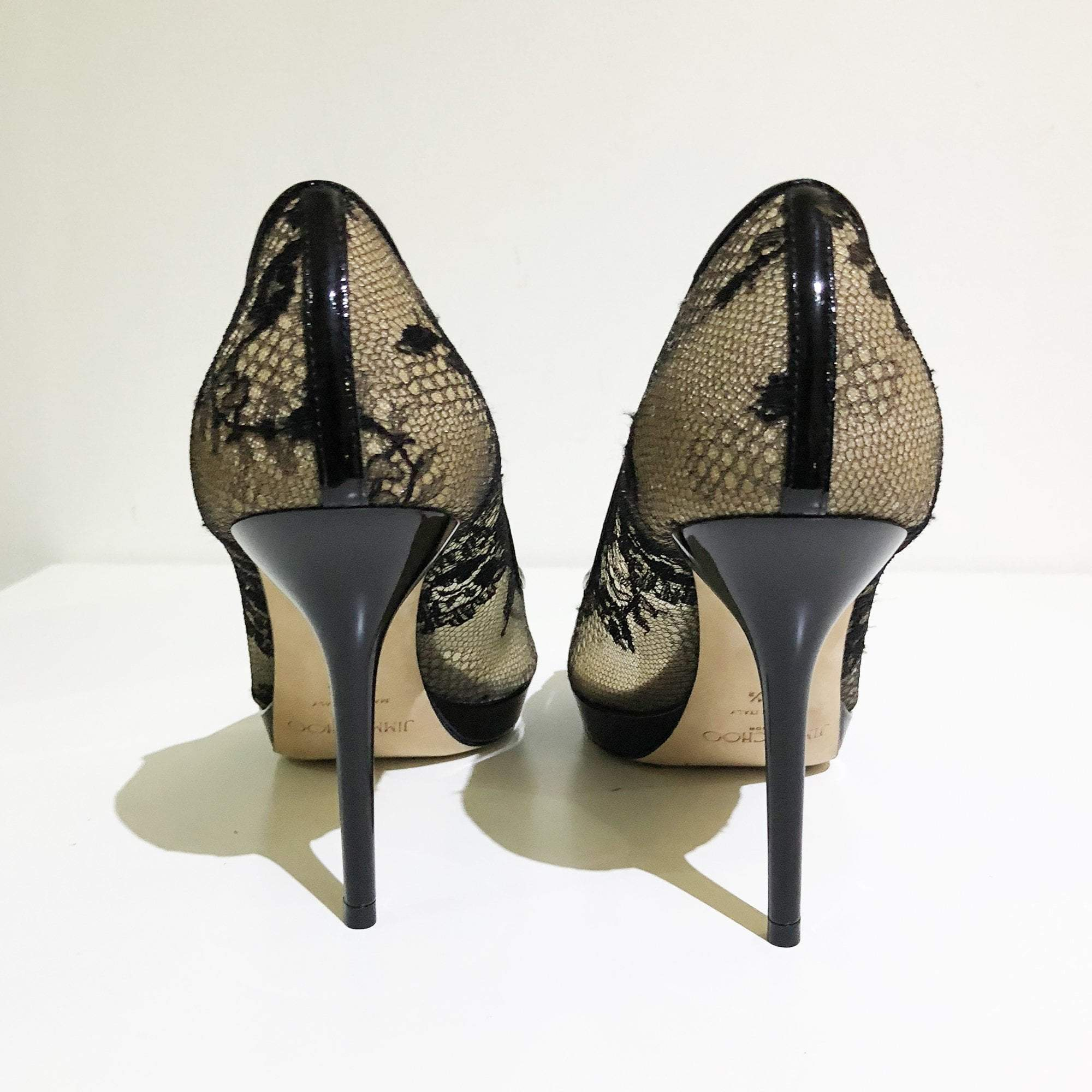 Jimmy Choo Black Luna Lace Patent Peep Toe Pumps