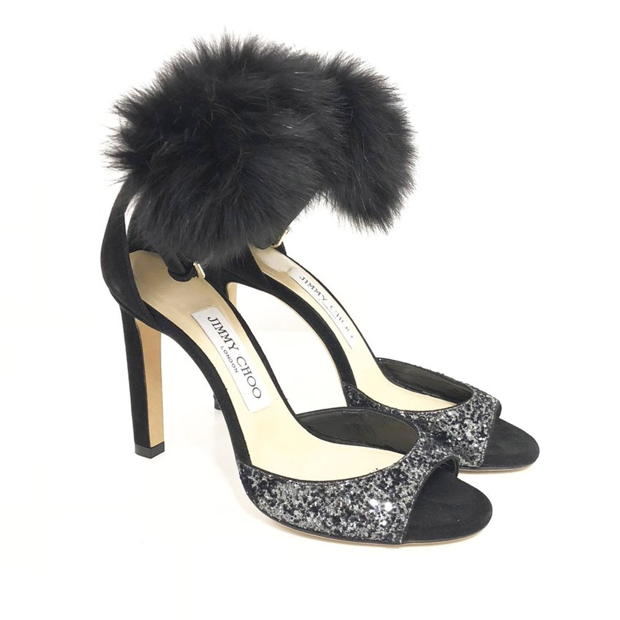Jimmy Choo Black Suri Fur-Trim D'orsay Sandal
