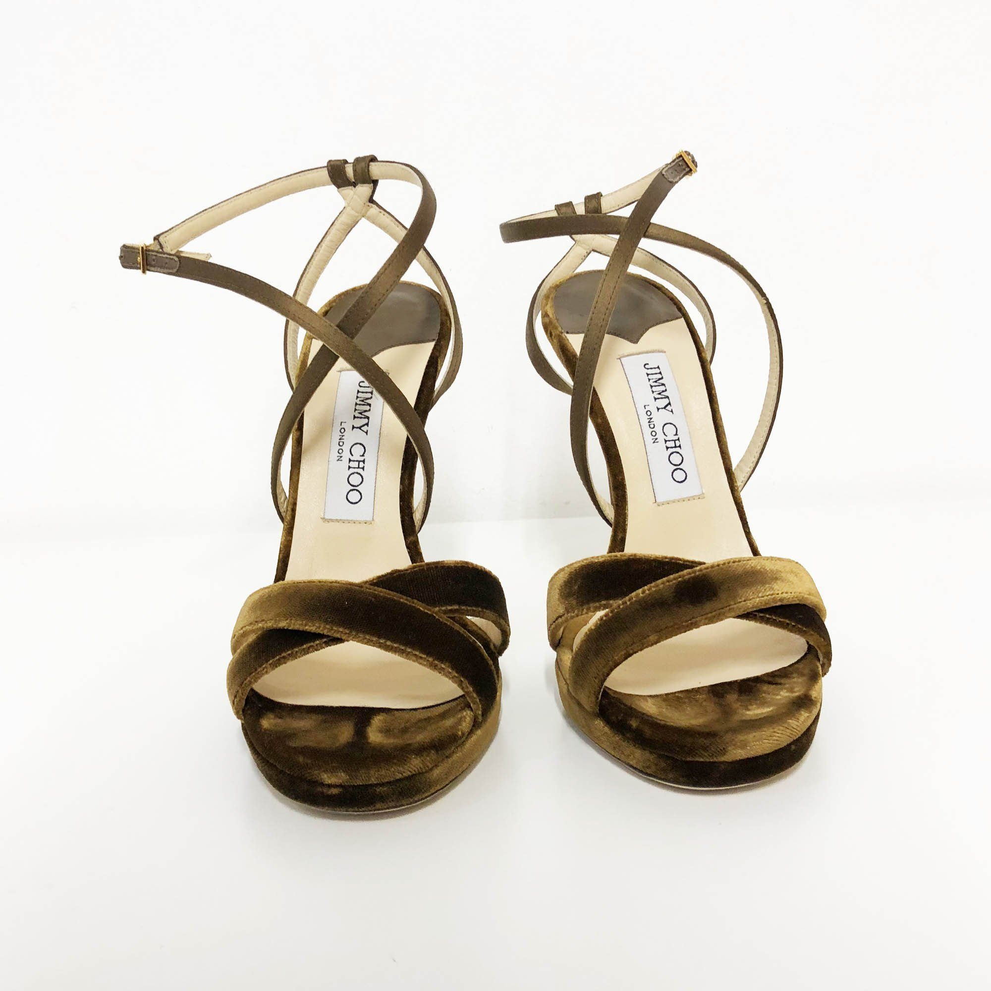 Jimmy Choo Lola Velvet & Satin Crisscross Sandals