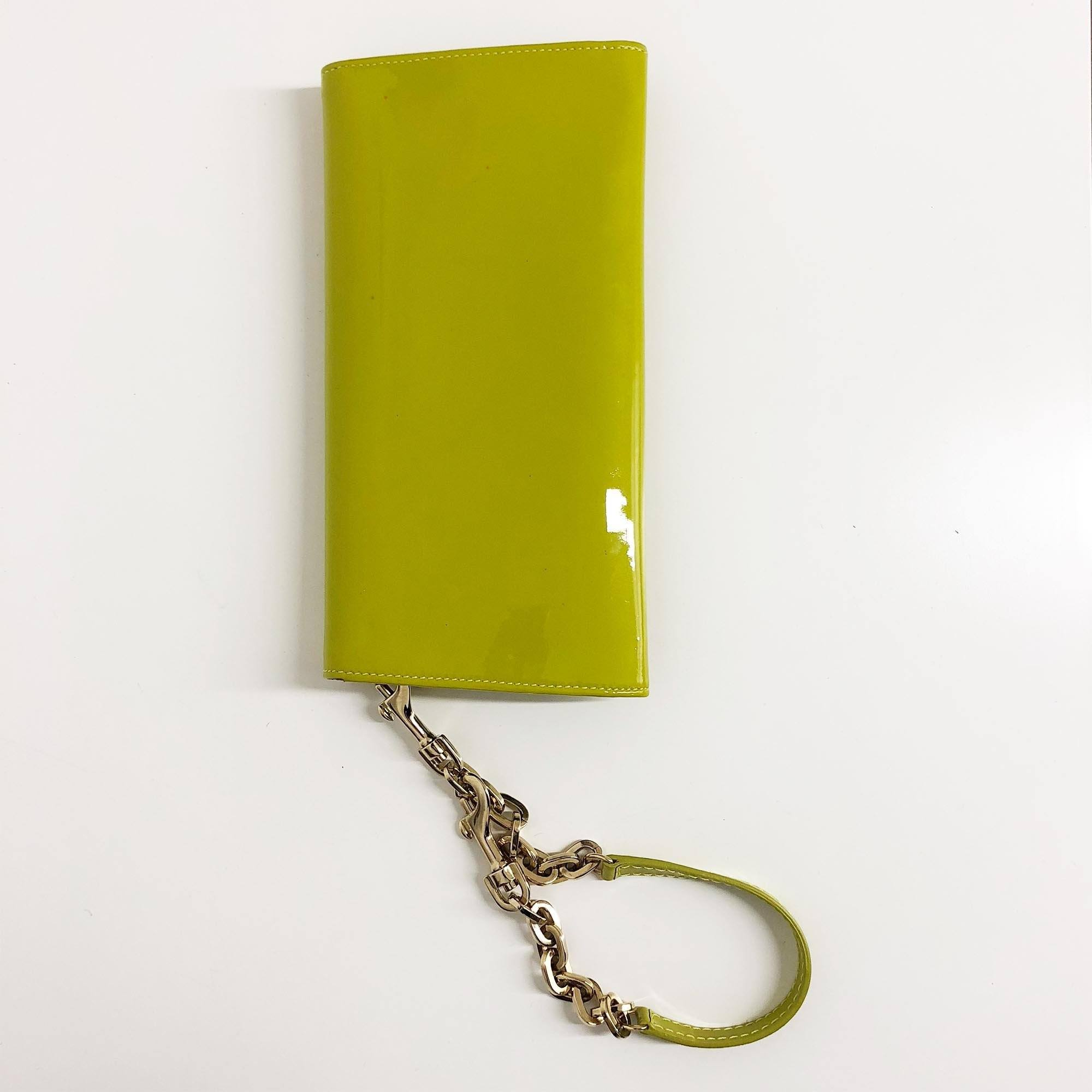 Jimmy Choo Patent Lime Clutch