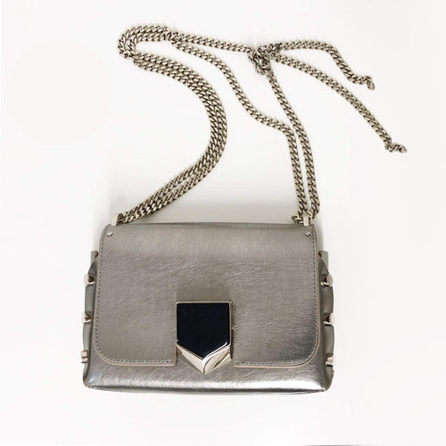 Jimmy Choo Vintage Silver Lockett Mini Cross-Body Bag
