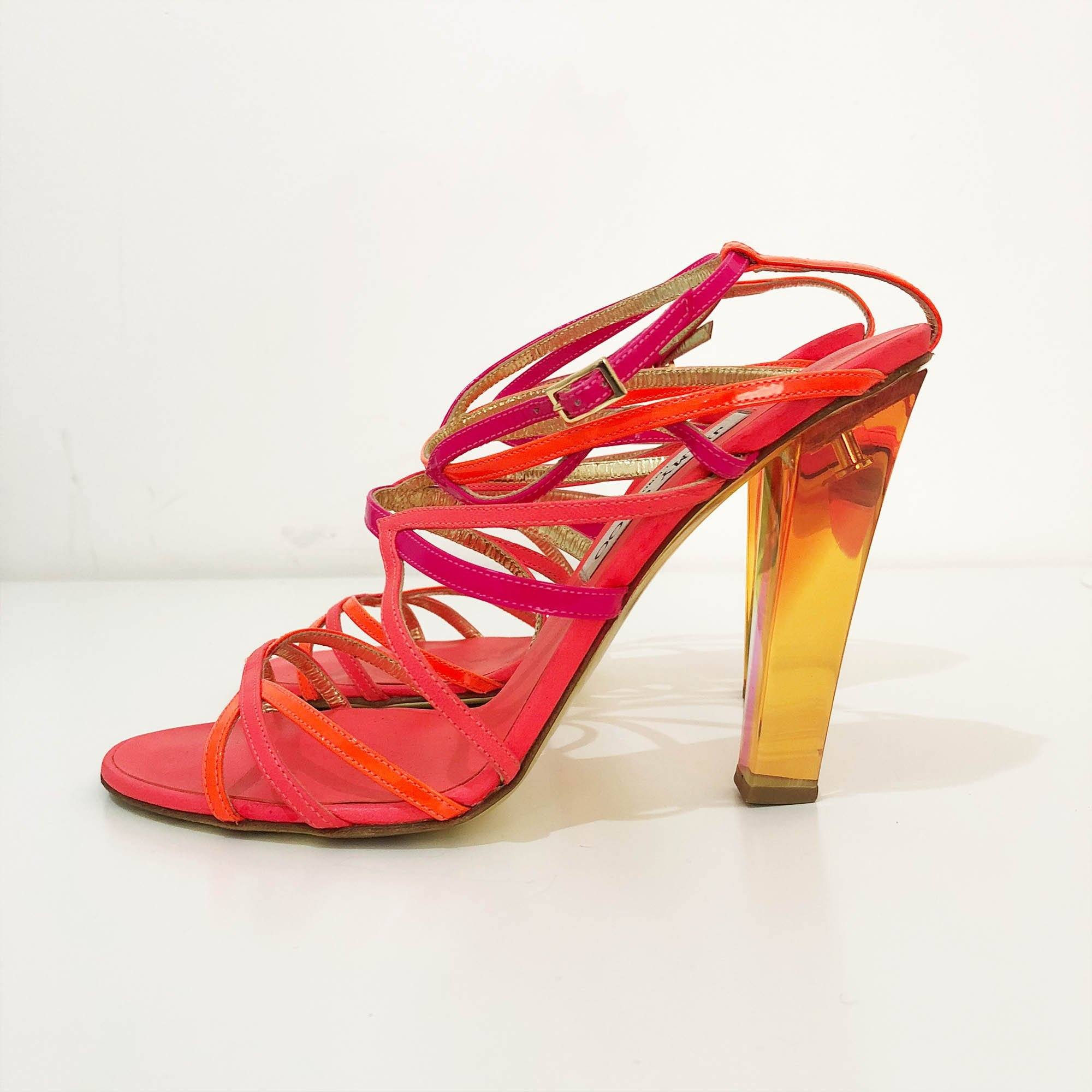 Jimmy Choo Neon Pink and Orange Sandal Heels