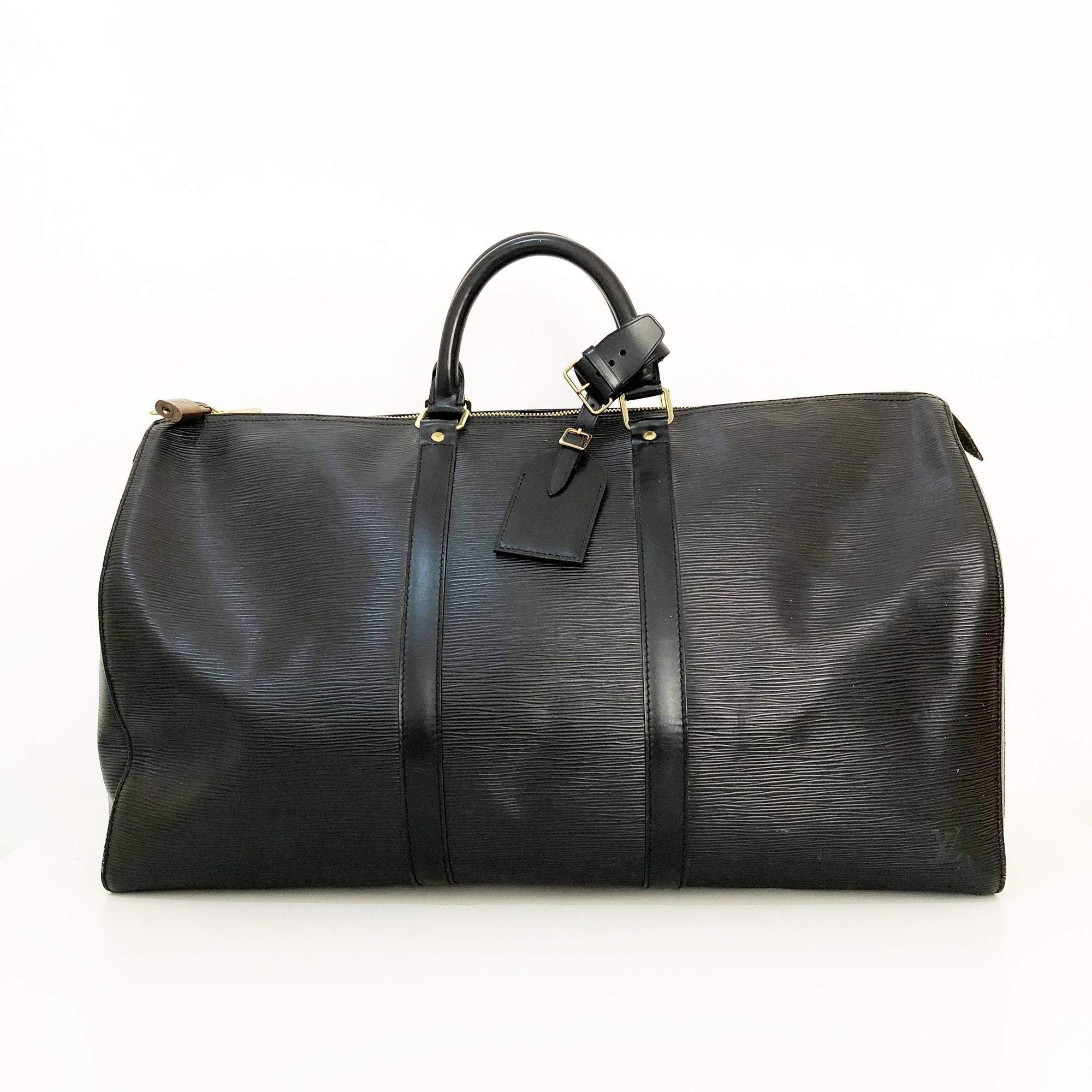 Louis Vuitton Black Epi Leather Keepall  50