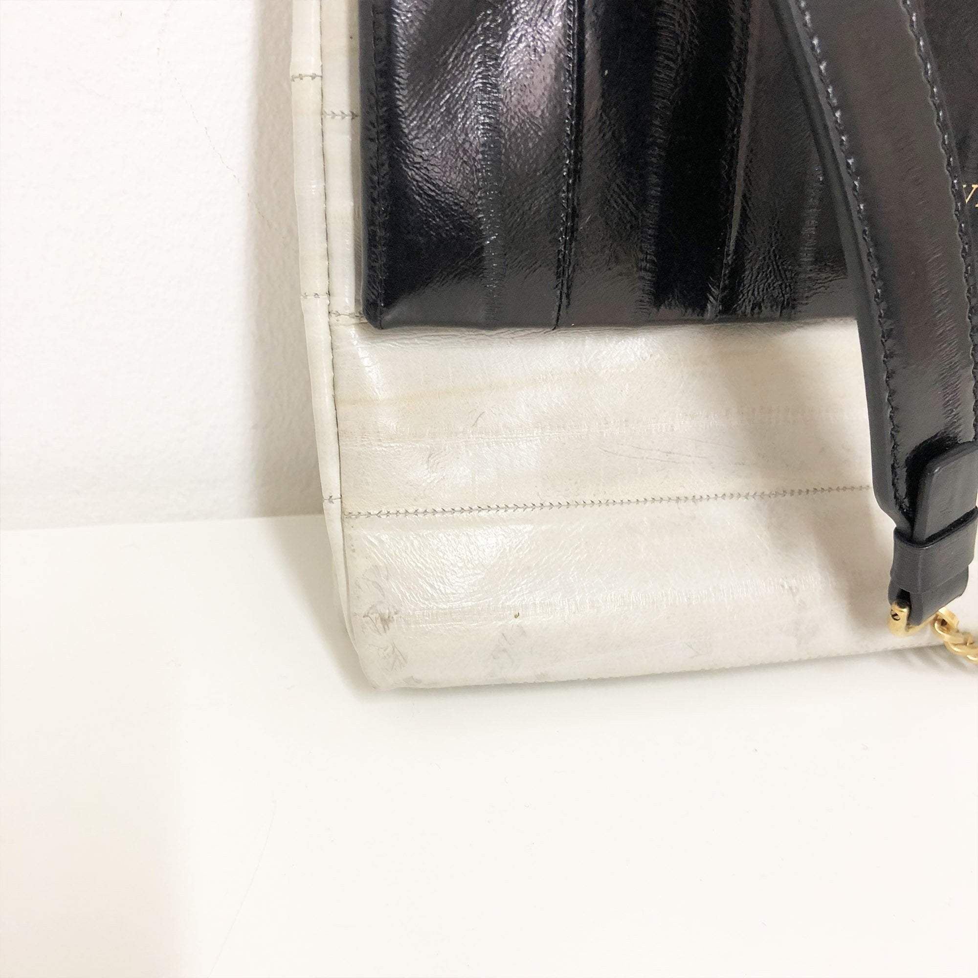 Lanvin  Black and Grey Patent Leather Cross Body Flap Bag