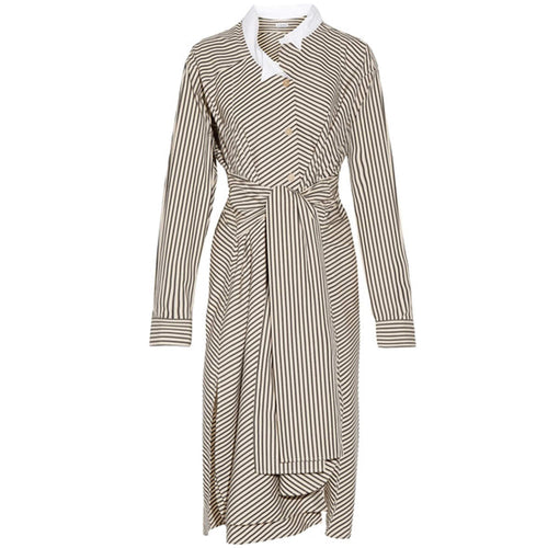 Loewe Striped Asymmetrical Cotton Shirt Dress