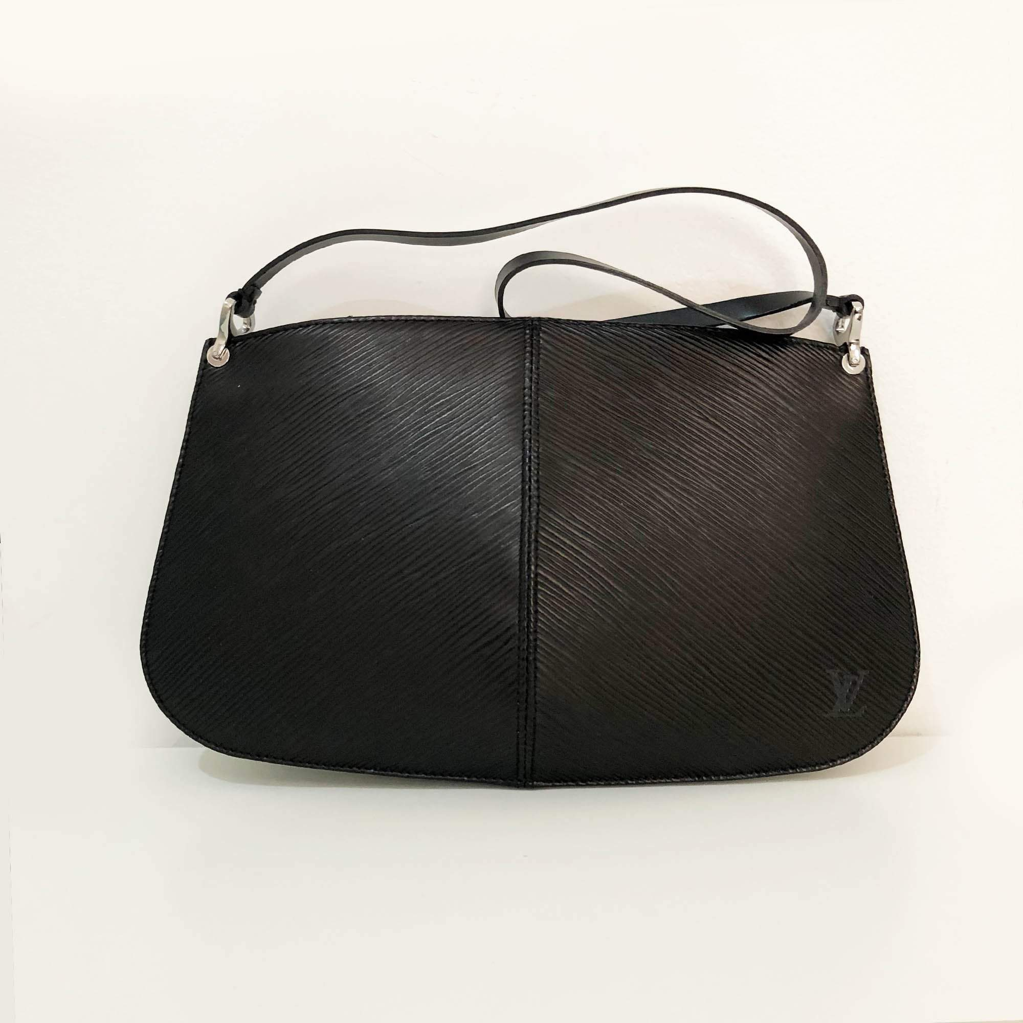 Louis Vuitton Black Epi Demi Lune Pochette