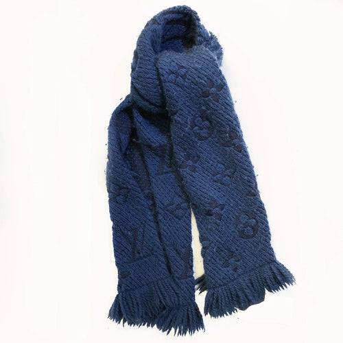 Louis Vuitton Blue Wool Scarf