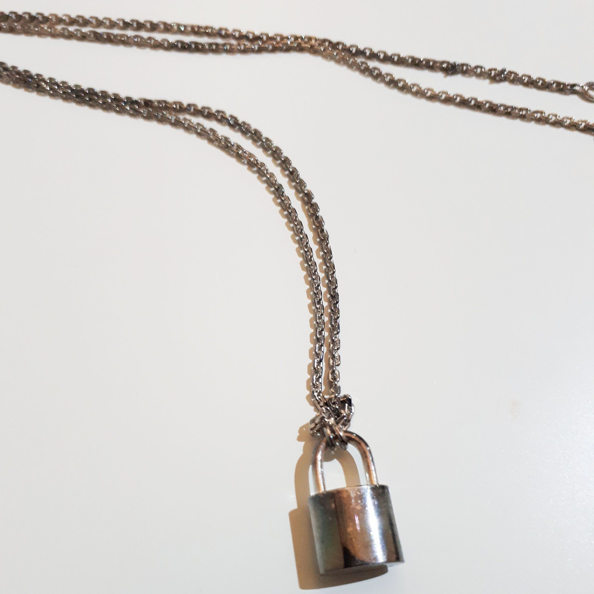 Louis Vuitton Silver Lockit Pendant Sterling Silver Necklace