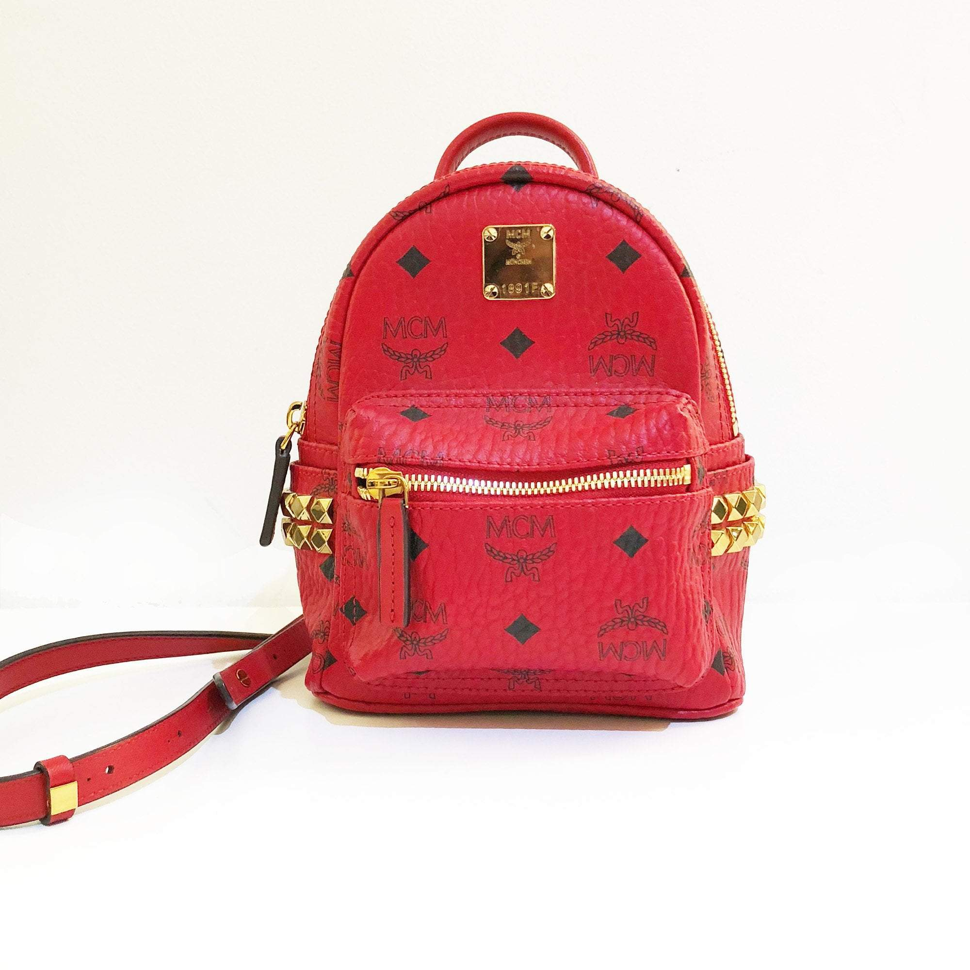 MCM Stark Red Visetos Mini Backpack