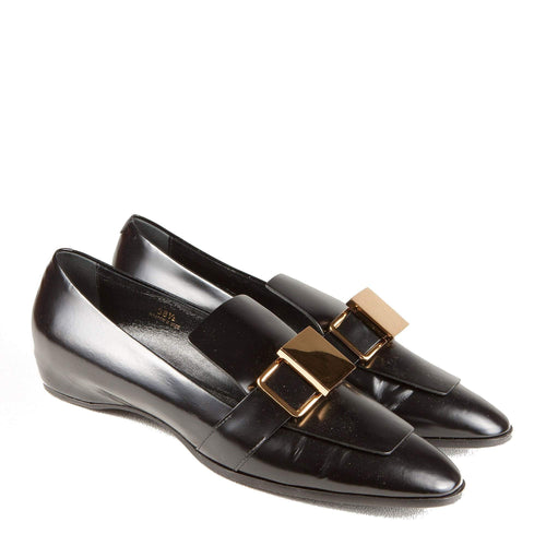 3a3f3cb6565 Tods Black Loafers with Gold Buckle