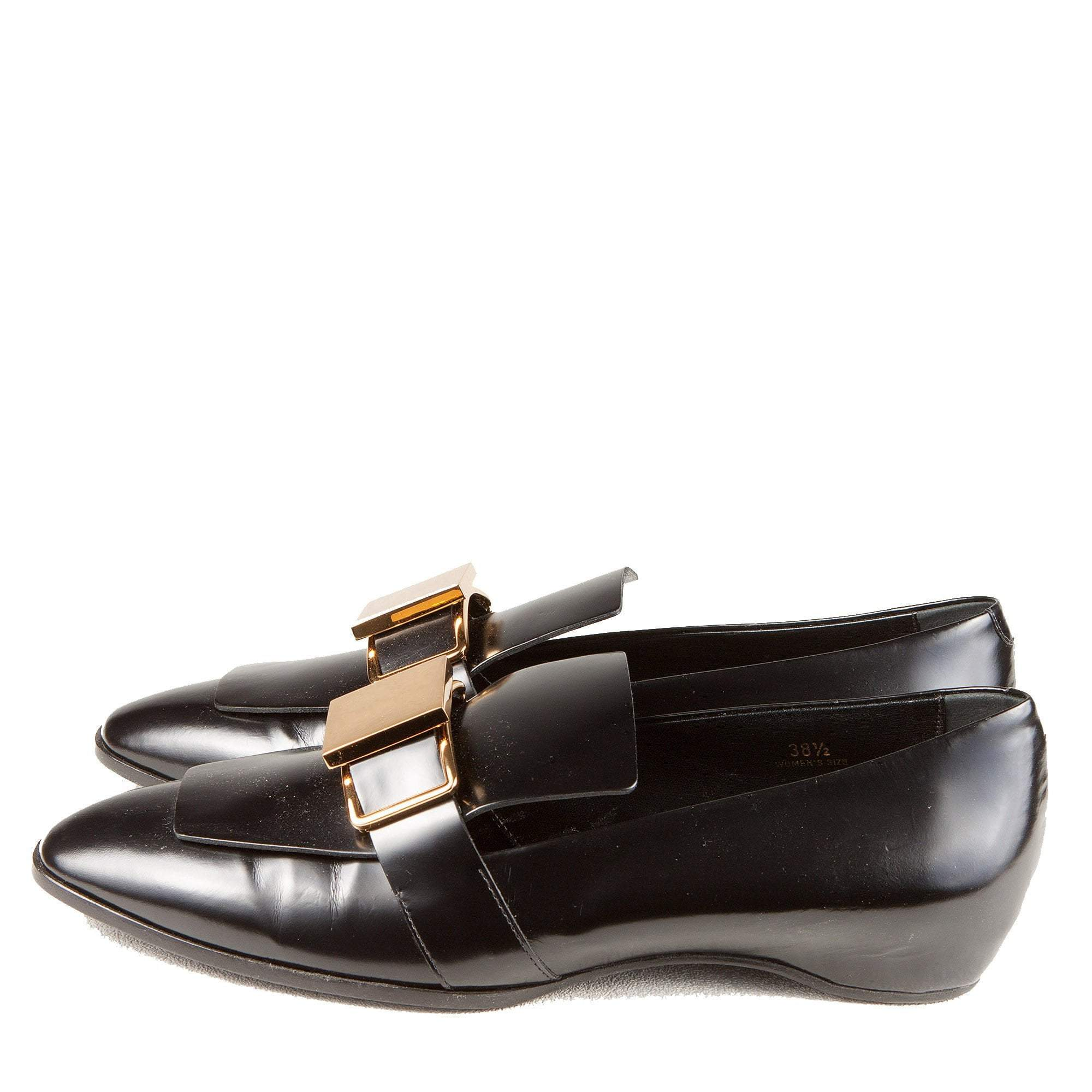 Tods Black Loafers with Gold Buckle
