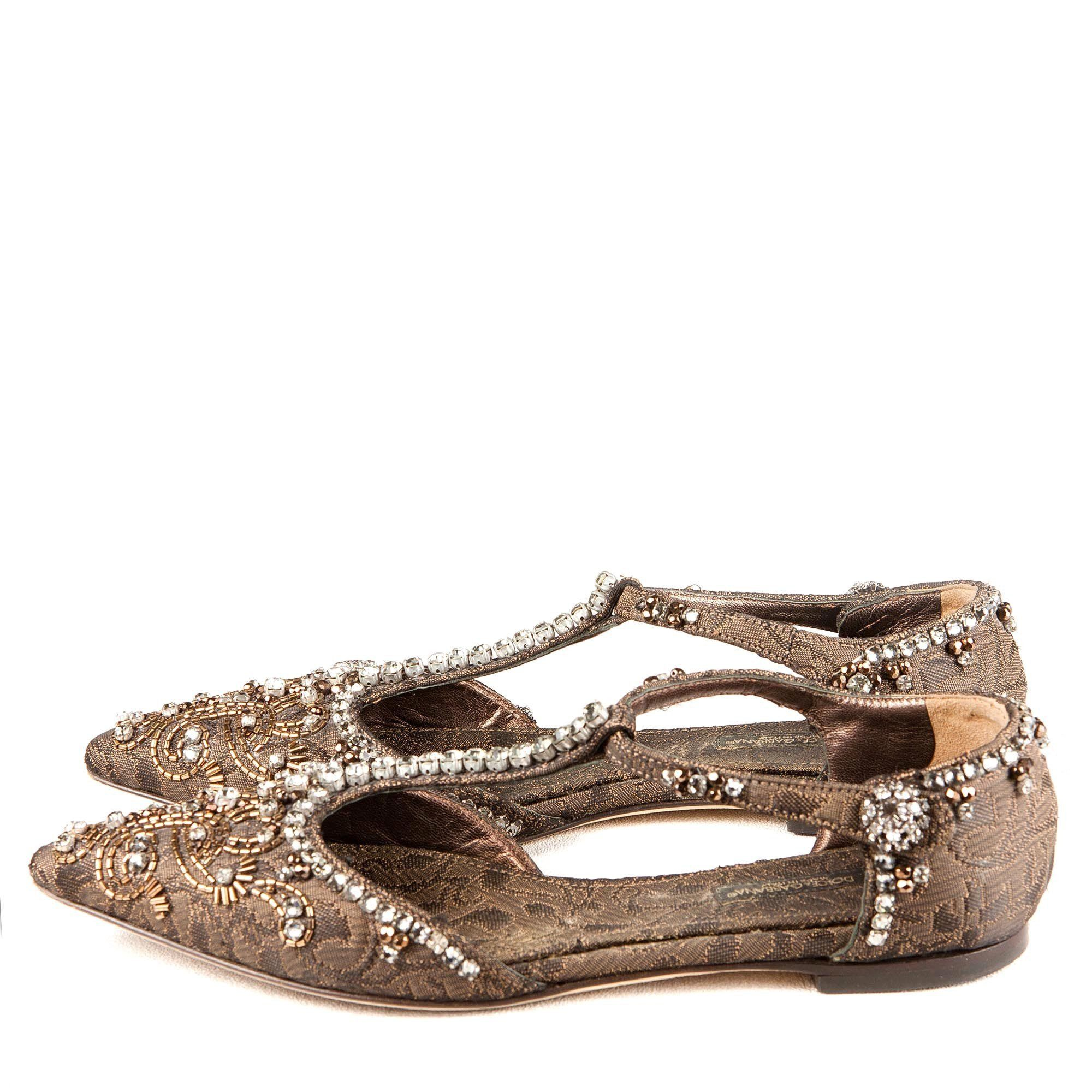 Dolce & Gabbana Embellished T-Bar Pointed Toe Flats