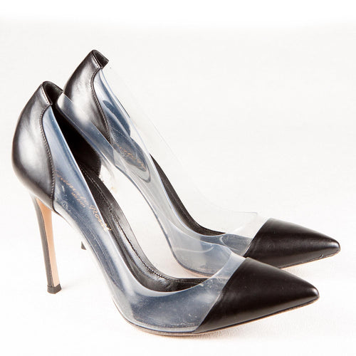 Gianvito Rossi Leather and PVC Pointed Toe Pumps
