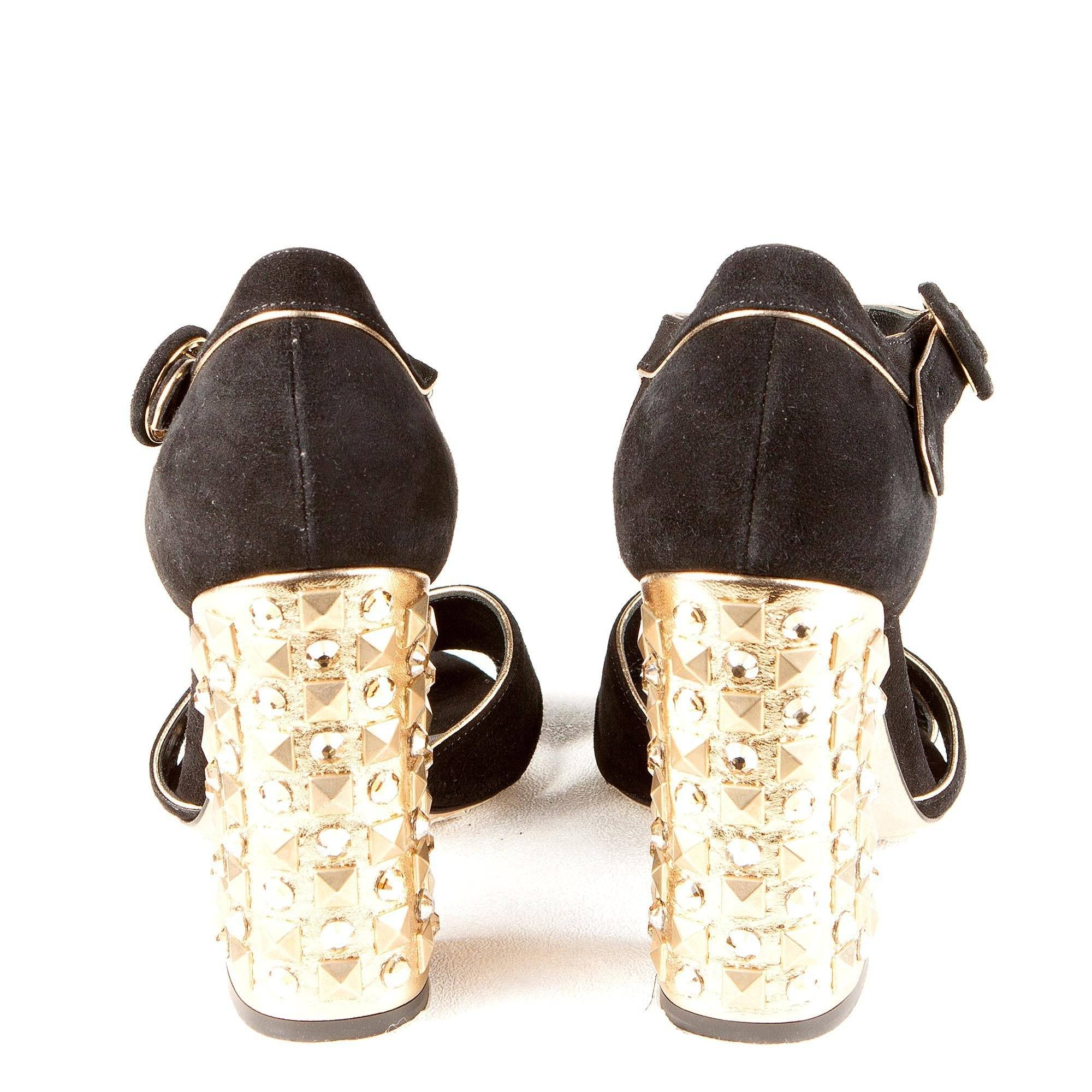 Studded Chunky Gold Heel SSuede andals