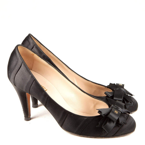 Chanel Black Satin Pumps