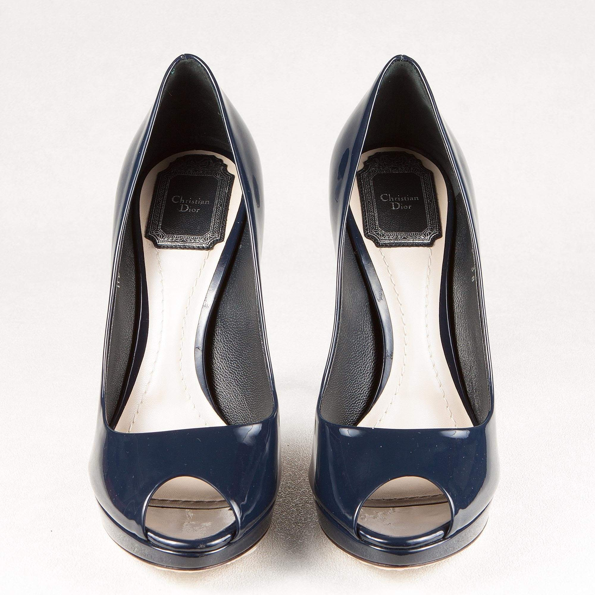 Navy Blue Patent Leather 'Miss Dior' Peep Toe Pumps