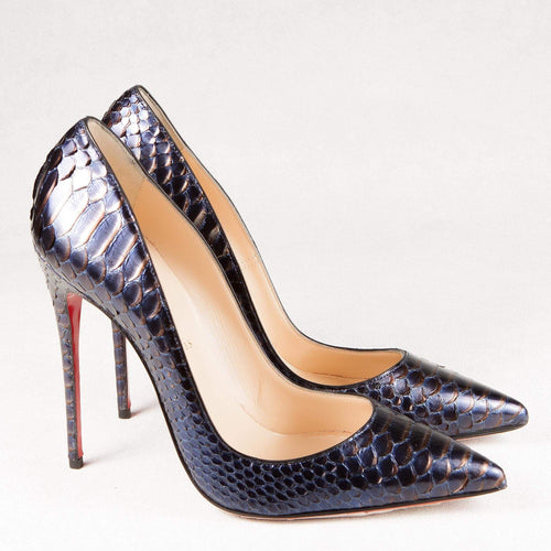 Christian Louboutin Blue So Kate Metallic Python Pumps