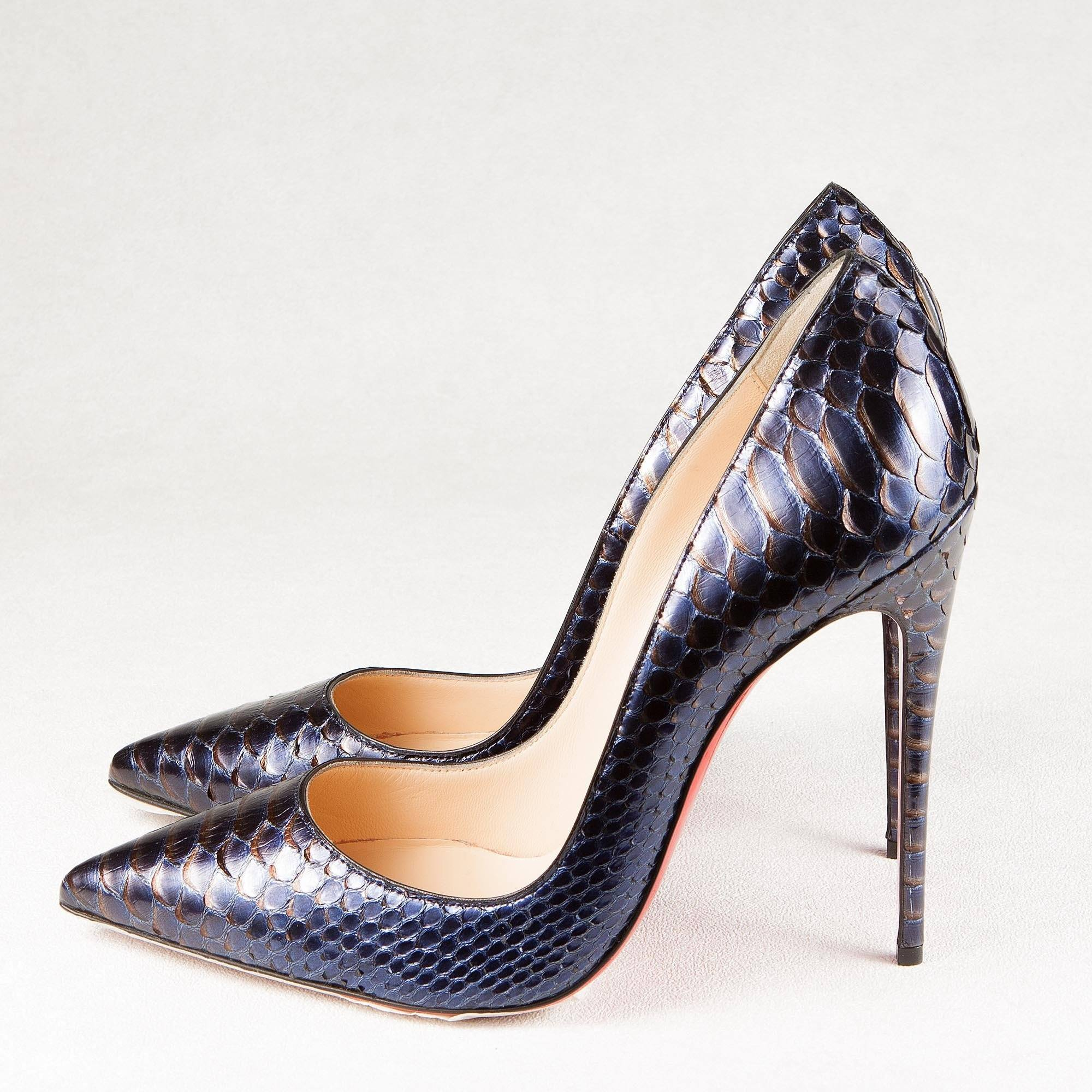04f9861587c7 Christian Louboutin Blue So Kate Metallic Python Pumps – Garderobe
