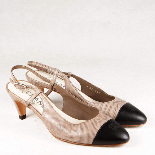 Sling-Back Black Cap Toe Kitten Heel Shoes
