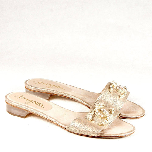 Pebbled Leather Light Gold Slippers