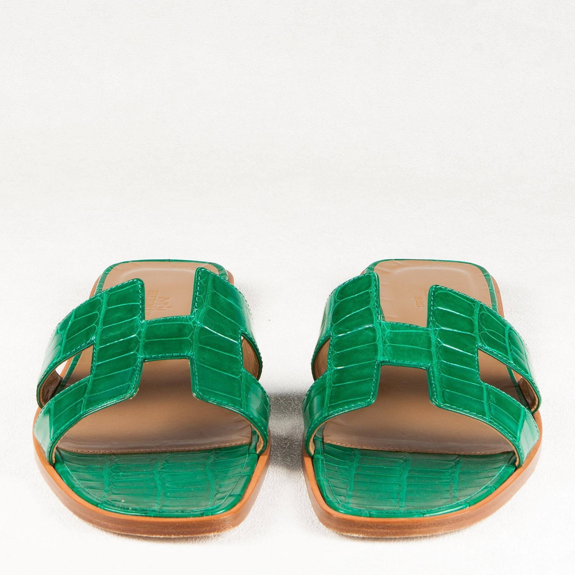Hermes Crocodile Green Oran Sandals